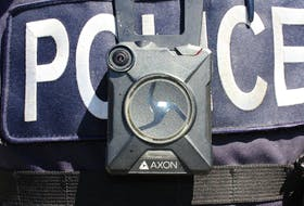 This Axon body camera was issued to Kentville police officers in May 2018. The Halifax, Nova Scotia: Street Checks report recommended Halifax Regional Police use similar devices, but the police force has expressed reservations about the technology before. - Ian Fairclough