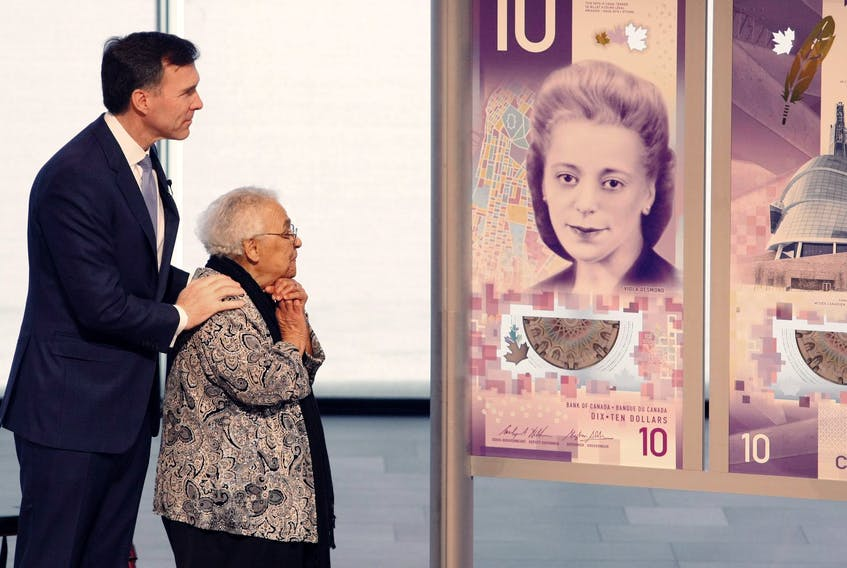 Federal Finance Minister Bill Morneau and Wanda Robson, Viola Desmond's sister, unveiled on March 8, 2018 the new $10 bill honouring Desmond as a human rights activist. - Eric Wynne / File