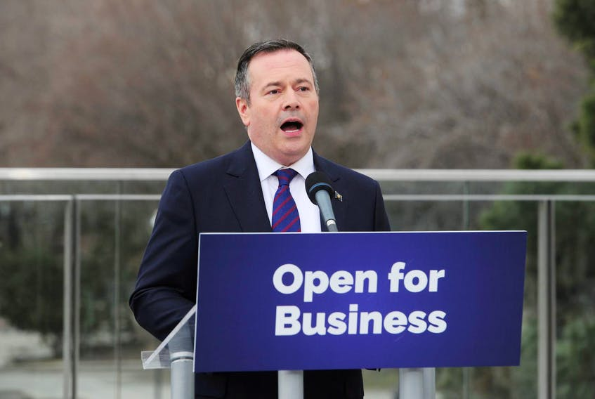 Newly elected Alberta Premier Jason Kenney meets with the media in front of the legislature building in Edmonton in April. - Candace Elliott / Reuters