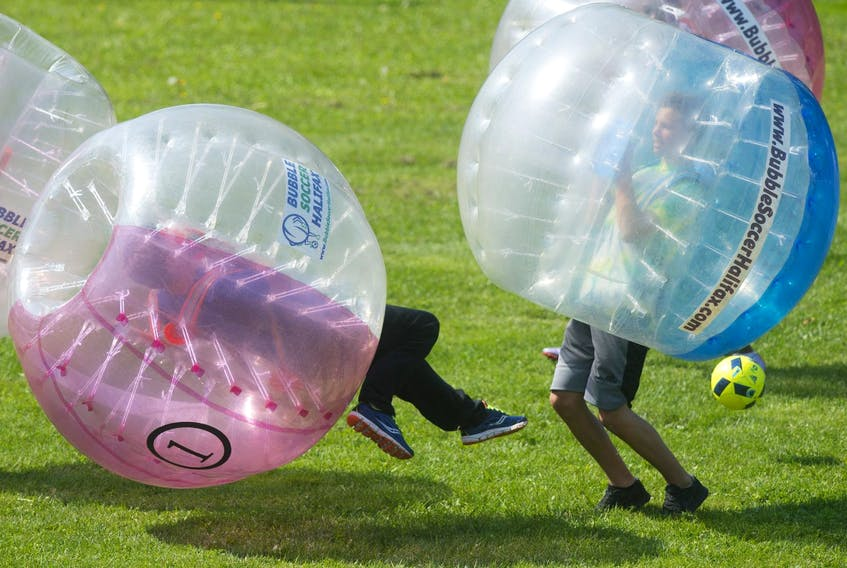 A big collision resulted in no injuries during the 2017 Bubble Soccer World Cup in Halifax. - Ryan Taplin