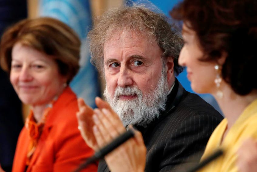 Former IPBES (Intergovernmental Science-Policy Platform on Biodiversity and Ecosystem Services) Chair Robert Watson is applauded as he attends a news conference on the launching of a landmark report on the damage done by modern civilisation to the natural world by the IPBES at the UNESCO headquarters in Paris, France, May 6, 2019. - Reuters