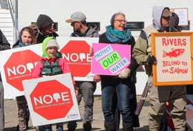 A scene from a recent protest in Sherbrooke, in response to Atlantic Gold's proposed gold mine at Cochrane Hill. Sam MacDonald