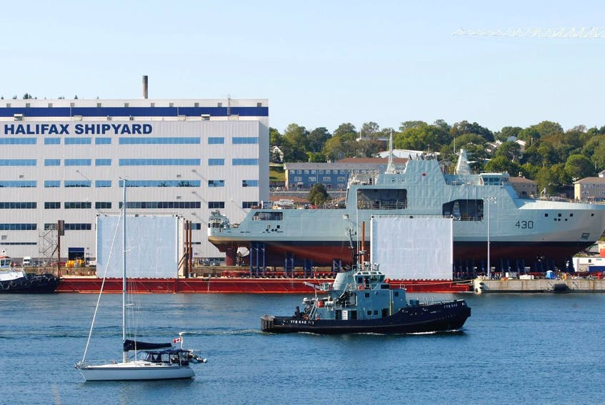 The Harry DeWolfe, which is also the class name of the new Arctic and offshore patrol ships, sits outside the Irving-owned Halifax shipyard in September. Two more of this vessel class have just been ordered by the federal government. - Eric Wynne