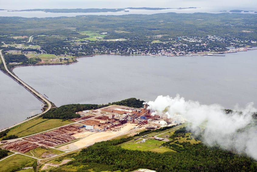 The Northern Pulp mill is seen in Abercrombie Point in 2014, with the Town of Pictou in the background. - Christian Laforce