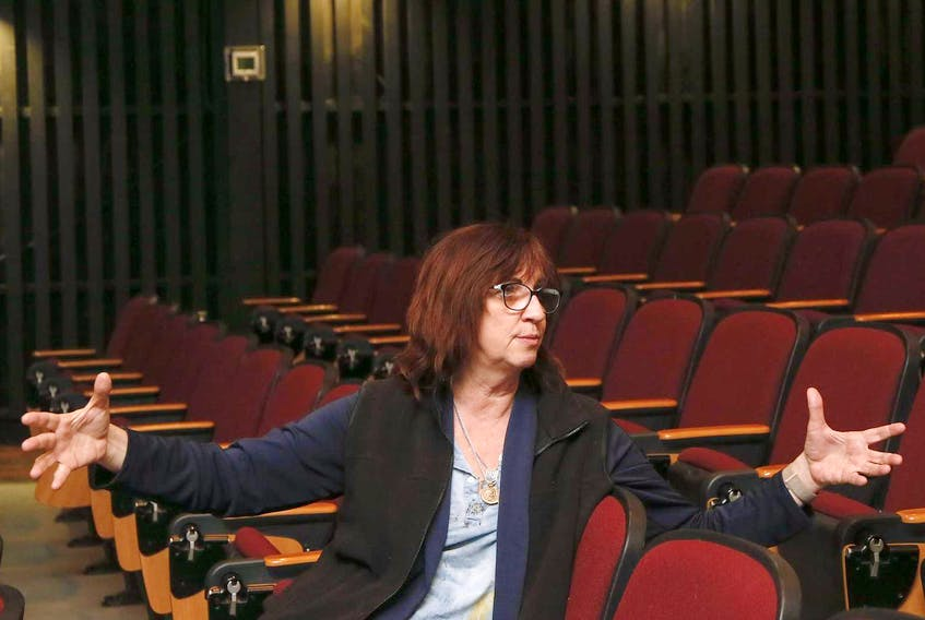 Nova Scotia-born sound designer Paula Fairfield, who most recently worked on Game of Thrones, gestures during an interview in the NSCAD auditorium, on Friday. - Tim Krochak