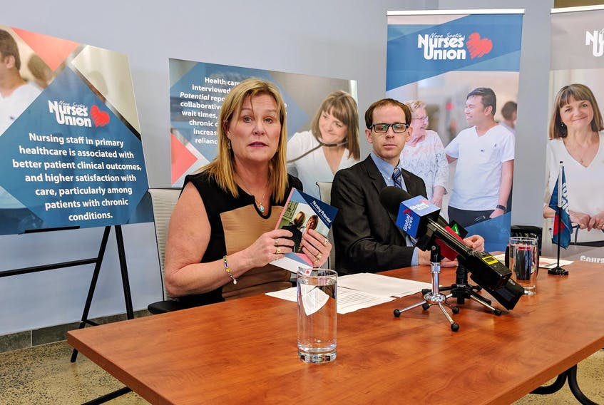 Janet Hazelton, president of the Nova Scotia Nurses Union, and union researcher Paul Curry, released a report Tuesday on the role of nurses in the health-care system.