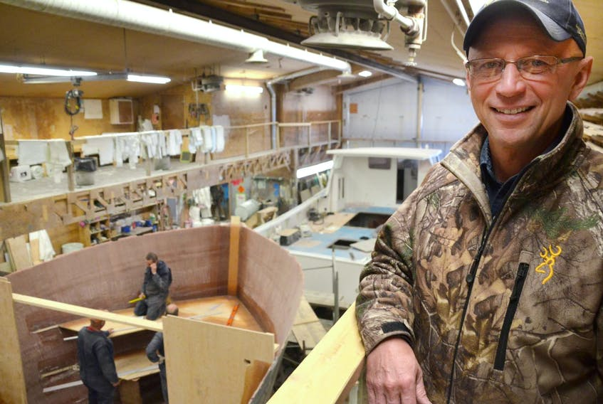 Cheticamp Boat Builders manager Bruno Gaudet is booked solid with orders for new fishing boats for the next five years. - Aaron Beswick