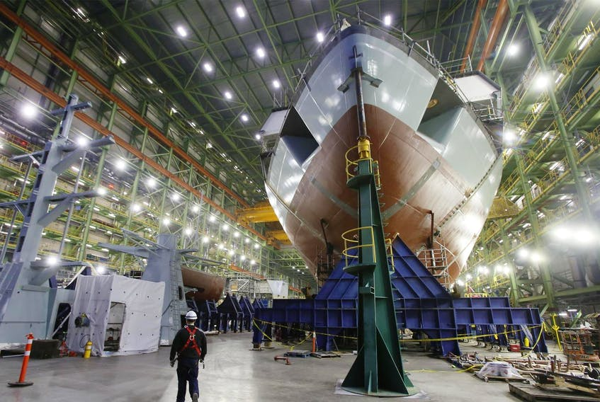 The Arctic offshore patrol ship Margaret Brooke takes shape in the assembly hall at the Irving Shipbuilding Inc. facility in Halifax on Dec. 6, 2018. - Tim Krochak