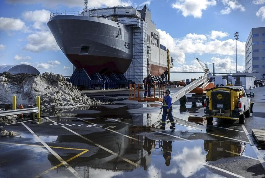 The arctic patrol ship, HMCS Harry DeWolf, is seen under construction at Irving Shipyard in Halifax last year.