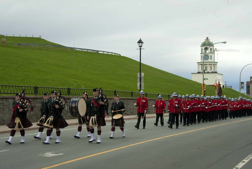 The Princess Louise Fusiliers will march through the streets of downtown Halifax on Saturday afternoon as part of their traditional Freedom of the City exercise. - File