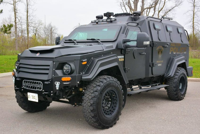 Halifax Police want to purchase an Armoured Rescue Vehicles (ARV) like this one from Halton, Ontario, Police will use the vehicle for extreme conditions including rescues, Tactical arrests and harsh enviroments. - Leanne Tremblay