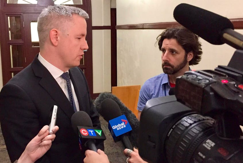 Crown attorney Peter Dostal speaks with reporters at Halifax provincial court Tuesday, June 18, 2019 about the fraud case against Tracy Leanne Kitch, former CEO of the IWK Health Centre. - Steve Bruce