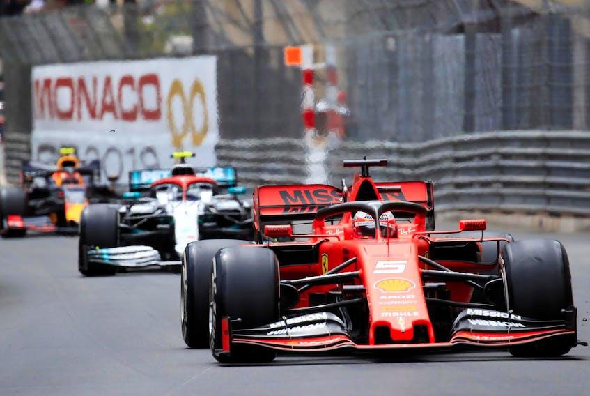 Ferrari's Sebastian Vettel in action during the Monaco Grand Prix on May 26.