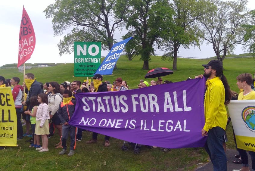 No One Is Illegal - Halifax organized the Unite Against Racism contingent that took part in the Walk With Refugees in Halifax on Sunday. - Contributed