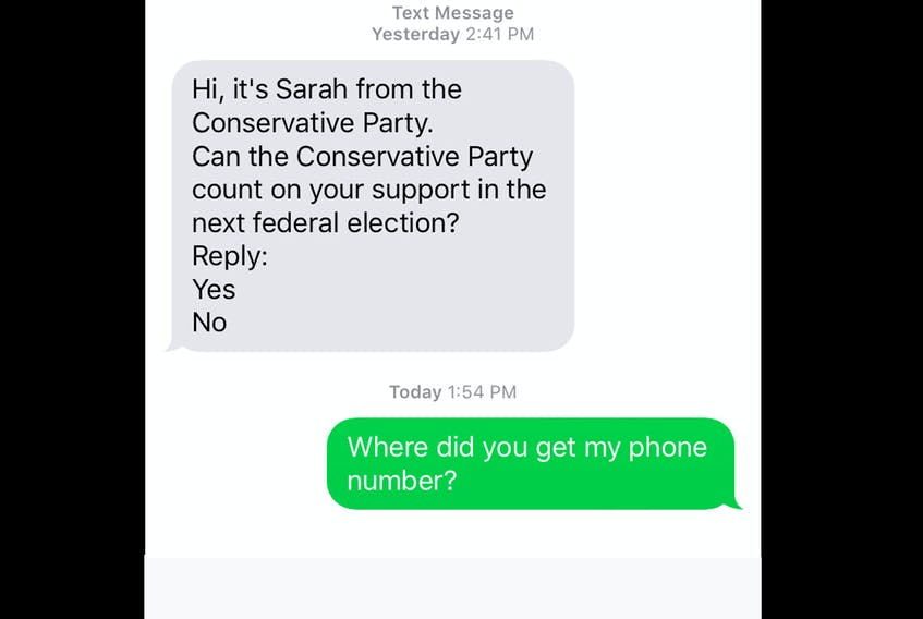 A slew of Nova Scotians are being targeted by the Conservative party's pre-election texting campaign. - Herald