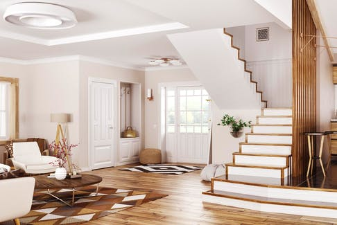 When it's time for a remodel, many homeowners opt to either replace or refinish older wooden components, including the treads, risers, stringers, handrails and balusters — using an attractive wood species and handsome stain. - GETTY IMAGES/iSTOCKPHOTO