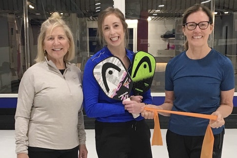 Zoomers Physiotherapy & Health Solutions physiotherapist Allison Lerette (centre) recently ran a Pickleball Readiness Workshop at the Halifax Curling Club pickleball courts. Standing next to her are participants Cathie Daniels (left) and Denise Meade (right).