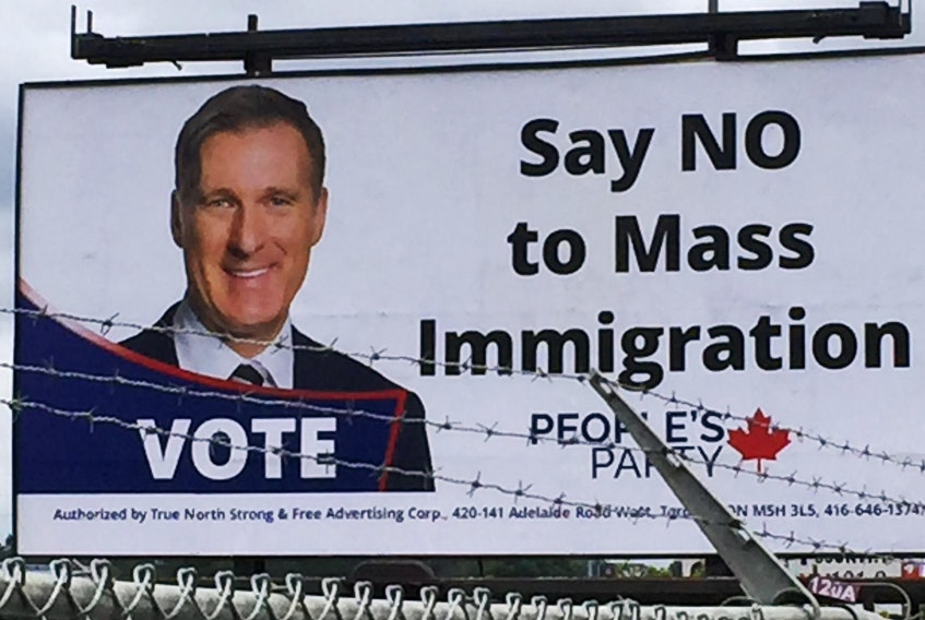 The People's Party of Canada paid for this billboard on the Bedford Highway. - Chris Lambie