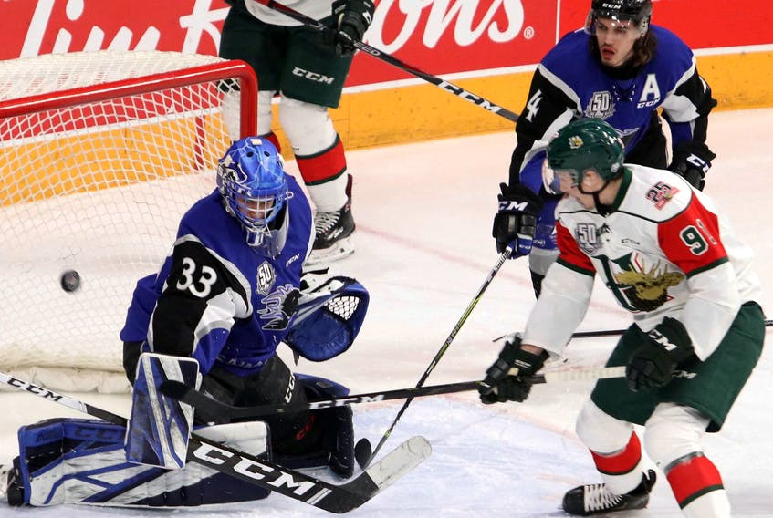 Halifax Mooseheads' Marcel Barinka scores on Saint John Sea Dogs' goaltender Zachery Bouthillier during a QMJHL game last season.