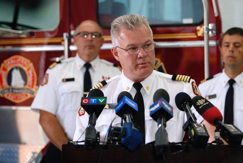 """Ken Steubing, Halifax Regional Fire and Emergency chief, speaks to the media Wednesday to say that the cause of a fire that killed seven children has been classified as """"undetermined."""""""
