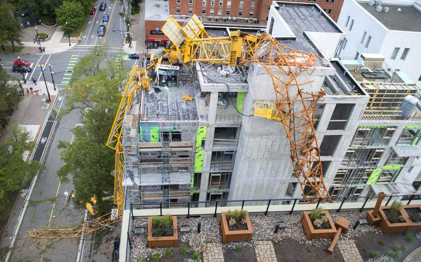 The building crane that collapsed on South Park Street in downtown Halifax during hurricane Dorian is seen from the nearby Trillium condominium building. - Ryan Taplin