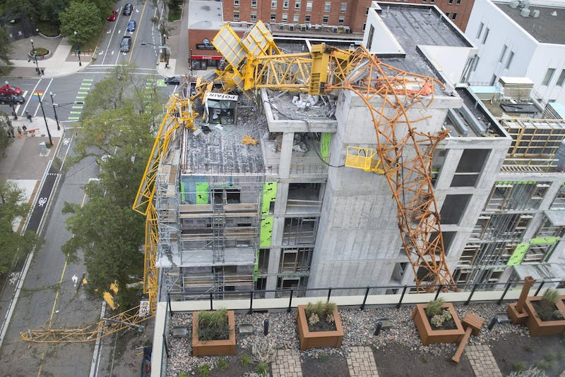 The building crane that collapsed on Brenton Street in downtown Halifax during Dorian is seen from the nearby Trillium condominium building. - Ryan Taplin