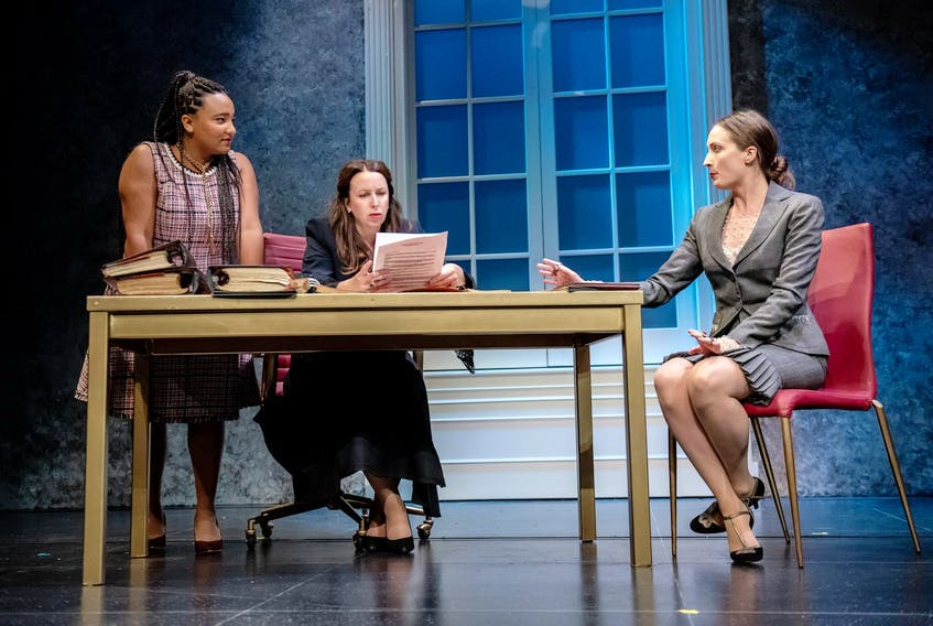 Koumbie (Bess), Stephanie MacDonald (Kate) and Lesley Smith (Mary) make plans in The Last Wife at Neptune Theatre in Halifax. - Stoo Metz