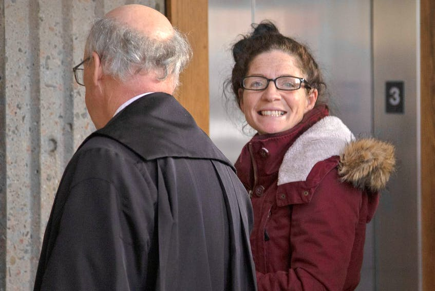 Renee Allison Webber is shown at court in Halifax last December at her sentencing hearing on pimping-related charges, including trafficking a person under the age of 18.
