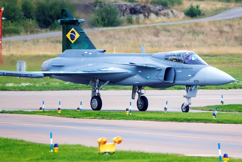 The first Brazilian Saab Gripen E fighter is pictured in Linkoping, Sweden on Sept. 10. - REUTERS