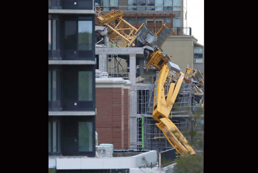 The removal of this crane that collapsed during Hurricane Dorian have caused some nearby residents to have to live somewhere else, and they don't know when they'll be allowed back. - Tim Krochak