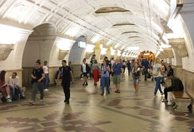 Belorusskaya metro station on the Koltsevaya Line opened in 1938 as part of the second stage of the Moscow Metro. The station, named for the railway station it connects with, features national Belarusian motives.