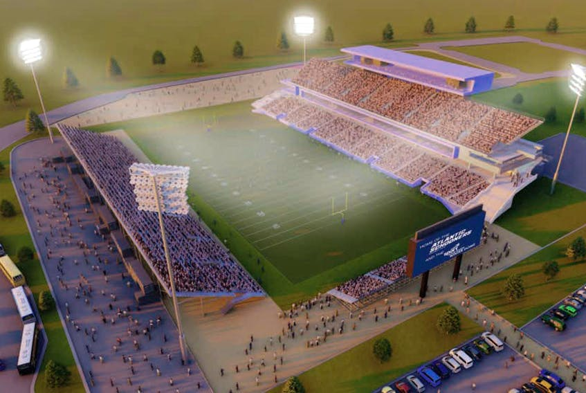 Perspective view of the proposed Shannon Park Halifax stadium. - Don Ellis Architecture