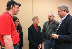 From left, David Chatman, Krista Chatman, Merv Wiseman and Dwight Eveleigh chat with Fisheries and Land Resources Minister Gerry Byrne at the Newfoundland and Labrador Federation of Agriculture AGM on Jan. 31.