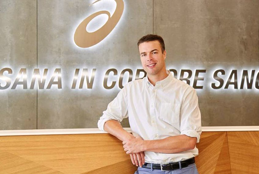 Lockeport native and Curv CEO Shea Balish, shown at ASICS European headquarters in Barcelona, Spain, has signed a deal with the Japanese sneaker maker. - Thomas Moke