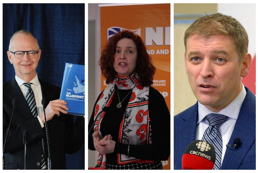 The leaders chasing electoral victory in Newfoundland and Labrador, from left: Ches Crosbie, Progressive Conservative; Alison Coffin, New Democratic Party; Andrew Furey, Liberal.