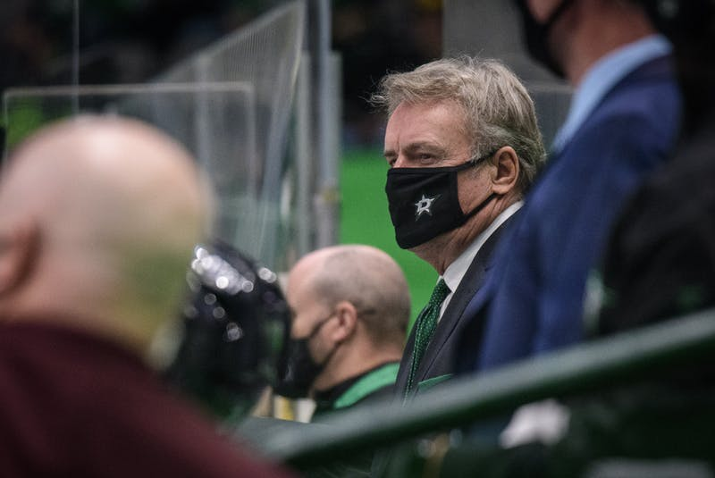 Dallas head coach Rick Bowness watches the action between the Stars and the Nashville Predators during an NHL game at the American Airlines Center. - By Jerome Miron