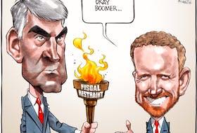 Bruce MacKinnon cartoon for Feb. 10, 2021. Stephen McNeil, Ian Rankin, passing of torch, OK Boomer