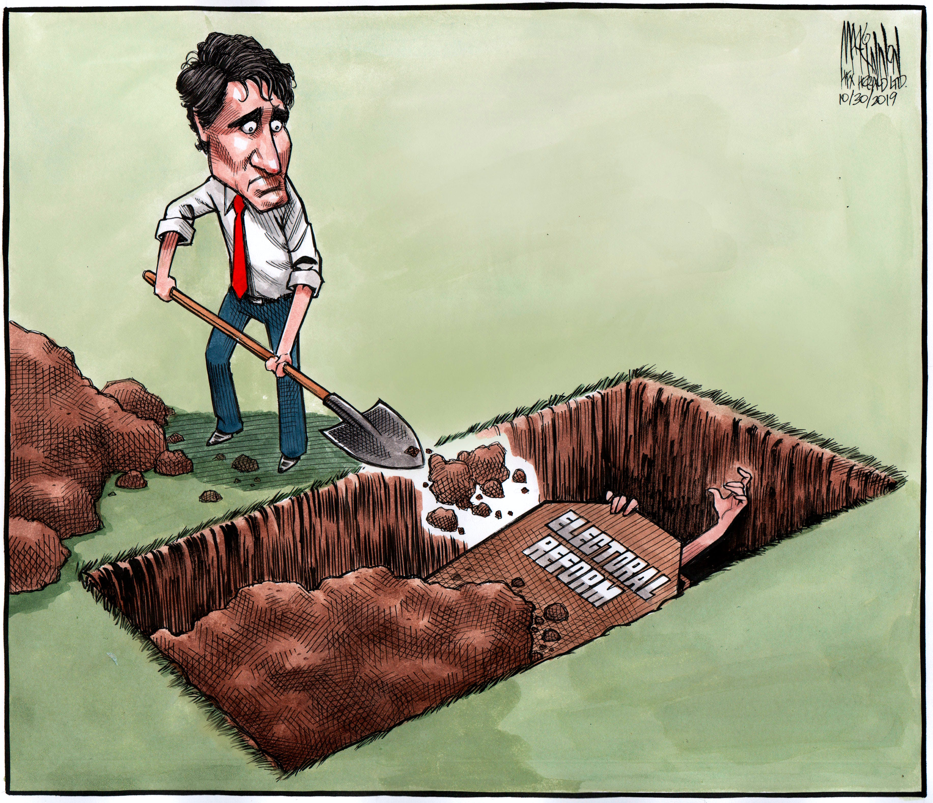 Bruce MacKinnon cartoon for Oct. 30, 2019. Electoral reform and Trudeau's failure to implement it.