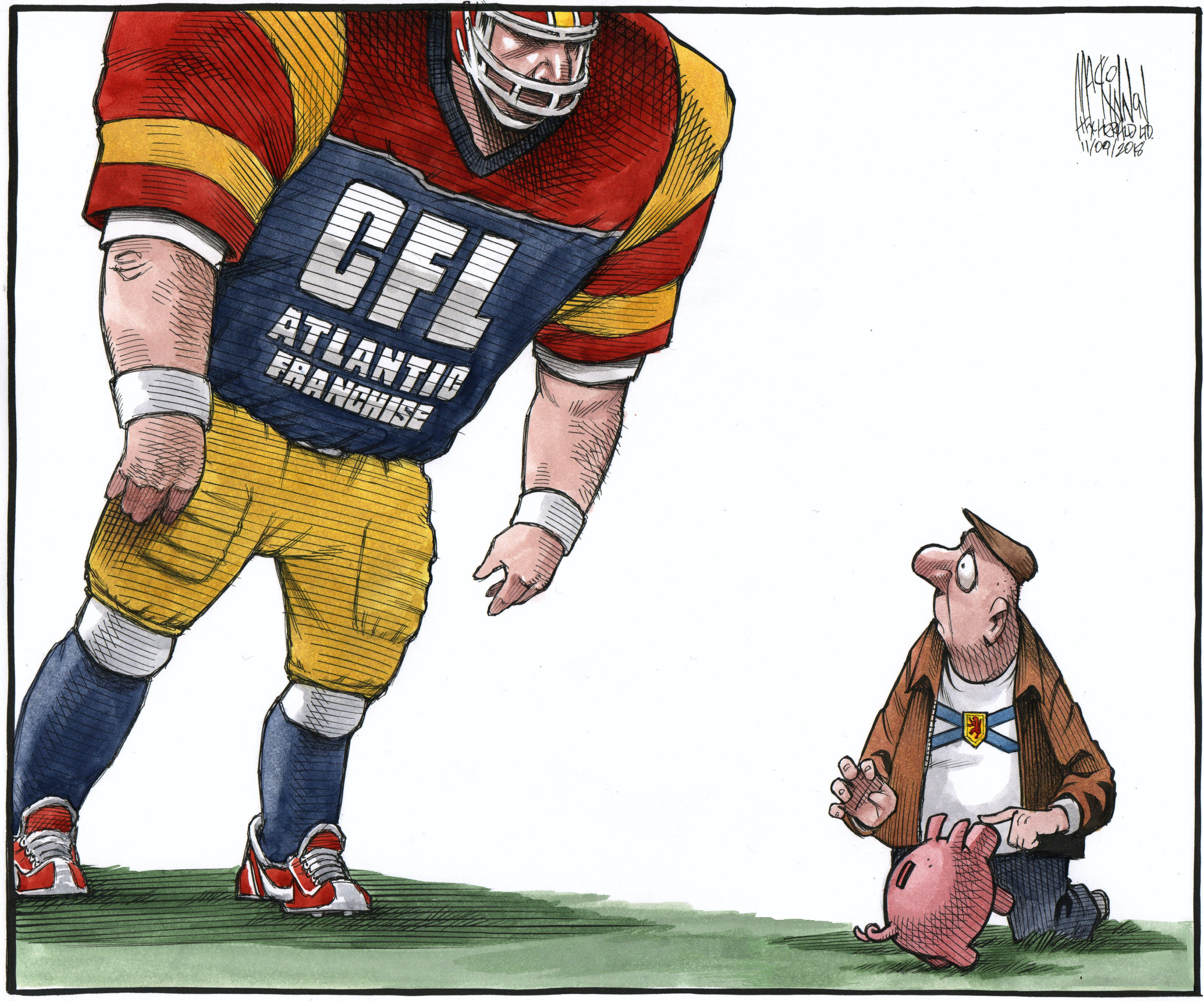 Cartoonist Bruce MacKinnon's take on the proposed stadium for HRM, first published on Nov. 10, 2018.