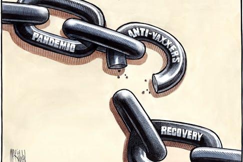 Bruce MacKinnon cartoon for Dec. 11, 2020. Anti-vaxxers, pandemic, COVID-19, recovery