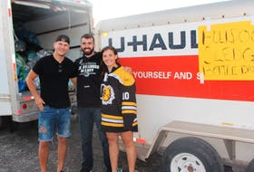 Helping out at a Sept. 27 bottle drive in support of Antigonish Bulldogs inclusive sledge hockey were program volunteer Caelan Quick, program leader Giovanni Akeson and his sister Roselia Akeson. All three are students at St. F.X., where the program started.