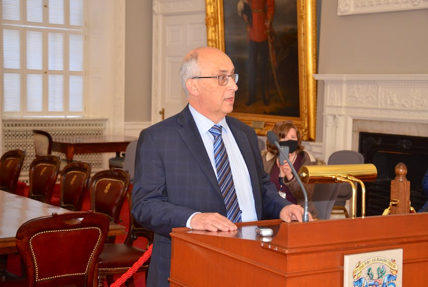 Gary Burrill, leader of the New Democratic Party in Nova Scotia, speaks to media in the red chamber at Province House on Thursday, March 4, 2021.