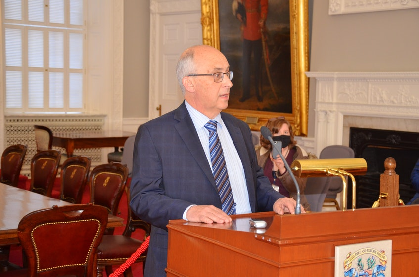 Gary Burrill, leader of the New Democratic Party in Nova Scotia, speaks to media in the red chamber at Province House in March. - Francis Campbell