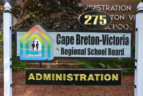 The sign outside the main office of the Cape Breton-Victoria Regional School Board is shown in this file photo.