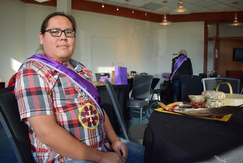 Michael R. Denny was one of the clinicians providing traditional Mi'kmaq and Western mental health supports to people at the National Inquiry into Missing and Murdered Indigenous Women and Girls in Membertou. — Nikki Sullivan/Cape Breton Post