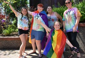 Among the large gathering of supporters who attended Friday's kickoff of Pride Week in Cape Breton were, from left, Ava Campbell, Taylor Haley, Michelle Miller, Nicole Miller and Margaret Laviolette, back. Events continue all week. - Cape Breton Post