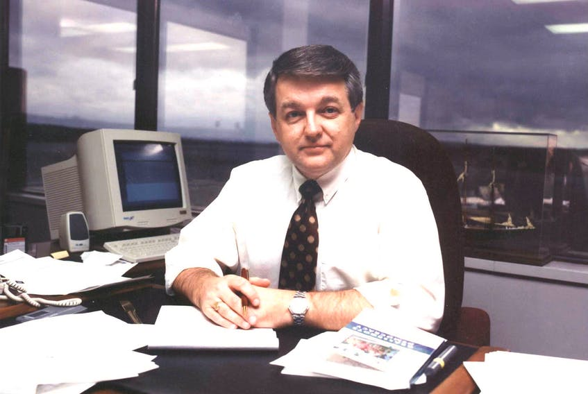 CBRM Mayor David Muise poses for a photo in his office on the fourth floor of the Civic Centre on Sydney's waterfront back in September 2000. CAPE BRETON POST PHOTO