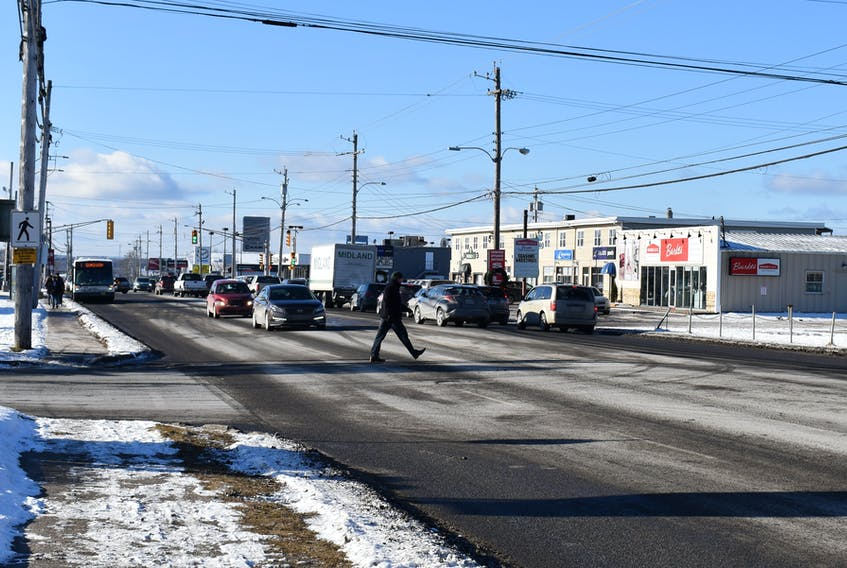 A man uses the crosswalk at the Welton and Reeves streets intersection in Sydney. A recent accident involving a motor vehicle hitting a pedestrian on Dec. 23 has prompted Kim Sheppard to write a letter to the Cape Breton Post in hope that changes will be made. Nikki Sullivan/Cape Breton Post