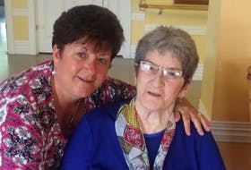 From left, Darlene Carey and her mom Nellie. Carey told her family's story at the Sydney Alzheimer's Awareness Breakfast last January.