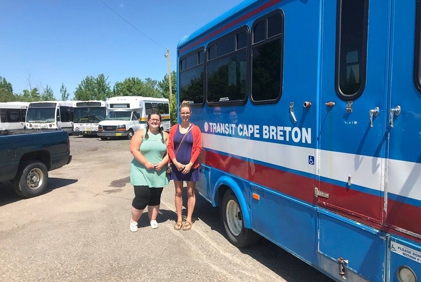 From left, Good Food Bus co-ordinator, Emma Jerrott and Claire Turpin, New Dawn Enterprises project manager, pick up the Good Food Bus before the retrofit.